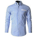 Macbear Men Cotton Formal Striped Shirt, Size: S