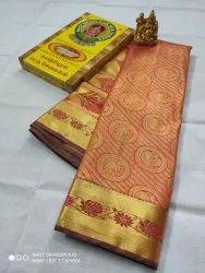 Wedding Wear Kancheepuram Silk Banarasi Saree, Length: 6.3 m (with blouse piece)