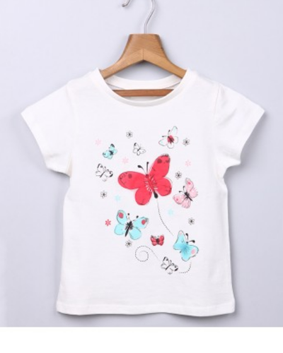 White Casual And Semi-Formal Butterfly Print T-Shirt