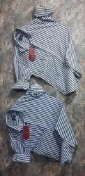 Regular Wear Lycra Mens Striped Shirts, Handwash