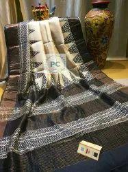 Bafta Silk Zari Block Printed Sarees