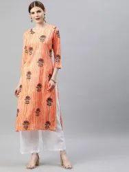 Stitched Casual Wear Printed Rayon Kurti
