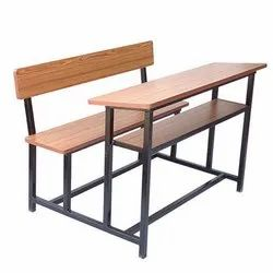 Wooden Top Three Seater Desk Bench