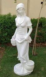 Multi Color Handmade Fiber Lady Statue Garden Decorative, For Interior Decor And Garden