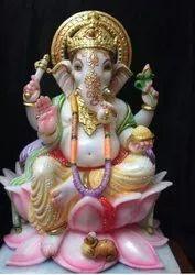 Marble Lotus Ganesha Ji Statue