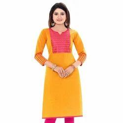 Cotton Ladies Yellow and Pink Kurti, Size: S, M, L & XL