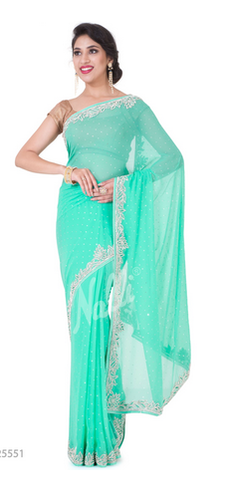 30e840dc4a45f3 Synthetic Party Wear Sea Green Embroidered Georgette Saree