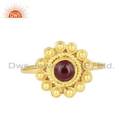 Garnet Gemstone Designer 18k Gold Plated 925 Silver Stackable Rings