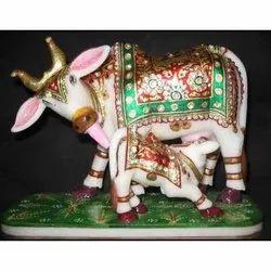 Marble Kamdhenu Cow And Calf Statue