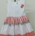 A Combination Of White And Red Frock