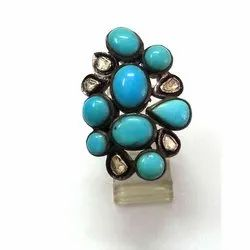 Turquoise Designer Pave Diamond 92.5 Sterling Silver Ring