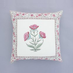 Floral Butta Hand block Print 16 X 16 Cushion Cover