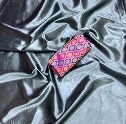 Trendy Plain Satin Silk Saree With Jacquard Blouse