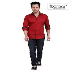 Cotton Full Sleeve Plain Red Slim Fit Shirt