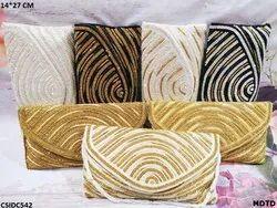Female Hand Work Designer Handwork Clutch, Size: 14*27 cm