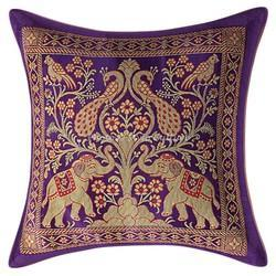 Purple Brocade Elephant Pillow Cushion Covers Throw