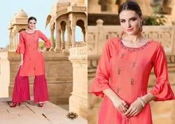 Pure Chanderi Muslin Yami Fashion Rasam Kurta with Sharara Set