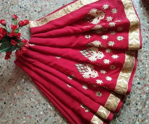 Embroidered Party Wear Fashionable Georgette Designer Saree, 6 M (with Blouse Piece)