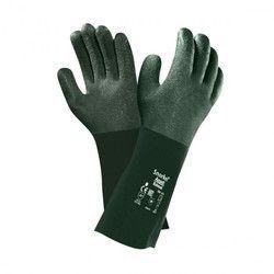 Green Ansell Snorkel Vinyl Gloves