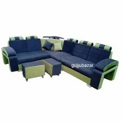 Gujju Bazar Green and Blue L Shaped Sofa Set, for Home