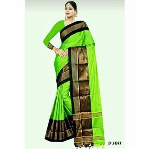c0cbfc4102ed3b Embroidered Ladies Neon Green And Black Silk Cotton Mina Saree, Rs ...