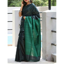 Tussar Ghicha Silk Pallu Dark Green Saree, Length: 6.3 M