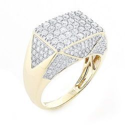 Gents Gold Ring Four Row Diamond Gents Ring