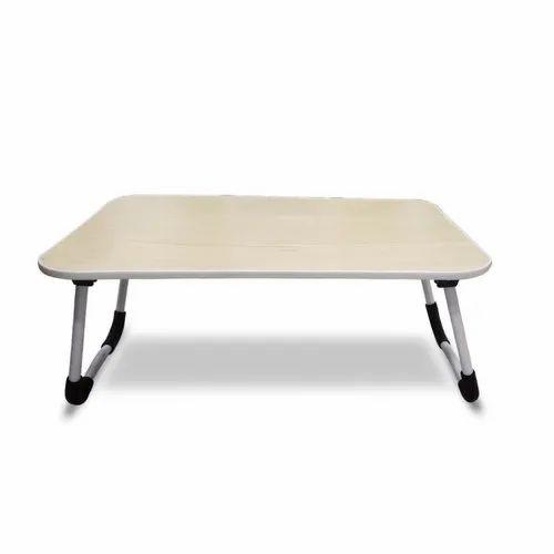 Multi Purpose Wooden Foldable Laptop, Study Table Ergonomic & Rounded Edges  Non Slip Legs  K541 Beig
