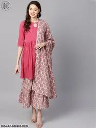 Nayo Pink Gathered Short Kurta With Printed Sahara & Dupatta