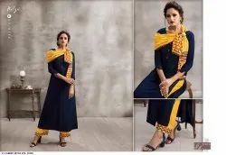 Rayon With Work Kurtis