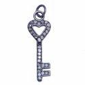 Nanplanetsilver Pave Diamond Key Charm Pendant, Size: 25x8mm