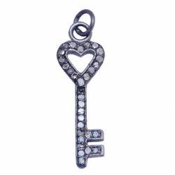 Pave Diamond Key Charm Pendant