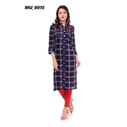 Ladies Blue Check Kurti