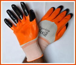 White Nylon Shell With Orange Nitrile Three Fourth Dipped Hand Gloves