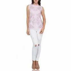 Polyester Sleeveless Pink Beaded Sequin Top