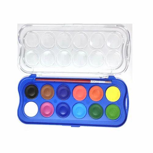 Doms Water Colour Paint Set Mini Cake Pallette Plastic Box Container Artist