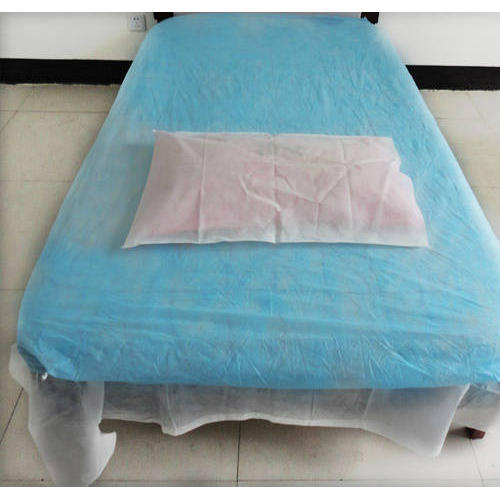 Plain White, Medical Blue Non Woven Bed Sheet, Size: Single