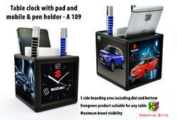 Table Clock With Pad and Mobile & Pen Holder