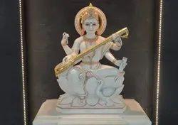 30 Inch Marble Saraswati Statue