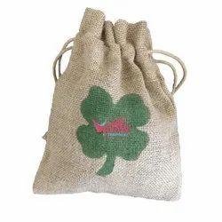 Brown Printed Jute Gift Bag