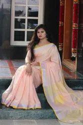 Zari Work Linen Saree