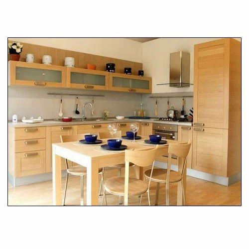 Wooden And Melamine Board Brown Kitchen Cabinet