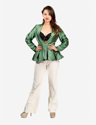 Green Front Closed Peplum Jacket
