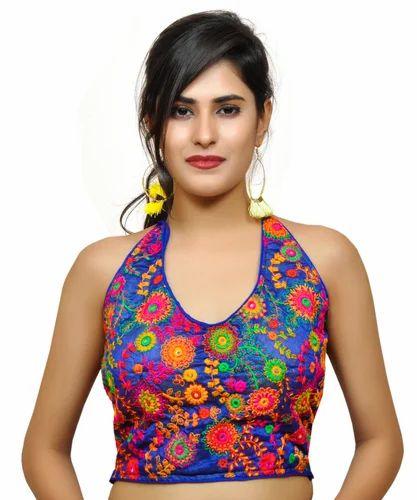 7cd95a2bc96b16 Kutchi Embroidered Blouses - Banjara India Women s Dupion Silk Aari  Embroidered Short Sleeves Kutchi Blouse - Yellow Manufacturer from Ahmedabad