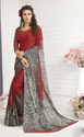 Brown Silk Georgette Saree With Unstitched Blouse