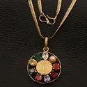 Designer Party Wear Synthetic Brass Navratan Pendant