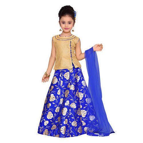 2c61f277dc Royal Blue Party Wear Adiva Girl's Lehenga Choli Set For Kids, Rs ...