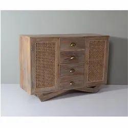 White Washed Wooden Cane Storage Cabinet
