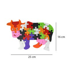 WOODYKRAFT Wooden Shaped Colored Cow Puzzle With 26 Alphabets and Numbers