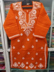 3/4 Seleaves Chikan Ghasspatti Work Ladies Chikan Salwar Suit with full dupatta